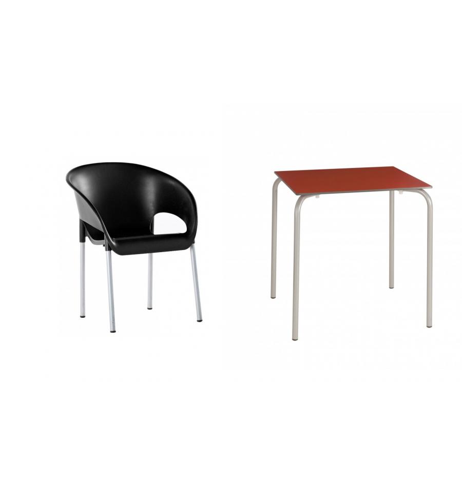 Mesa compacto 70x70 4 sillas terraza roda sillas y for Mesas y sillas para terraza