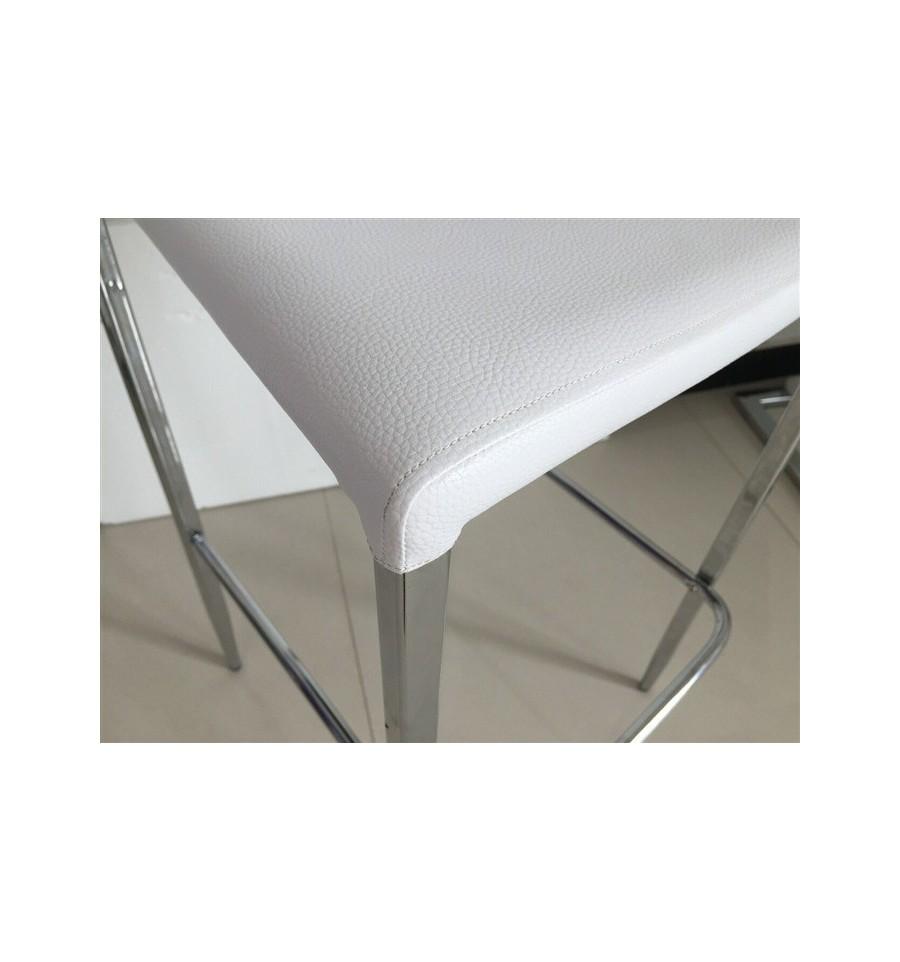 Silla hotel cromada polipiel blanca sillas y mesas de madera for Mesas y sillas blancas de madera