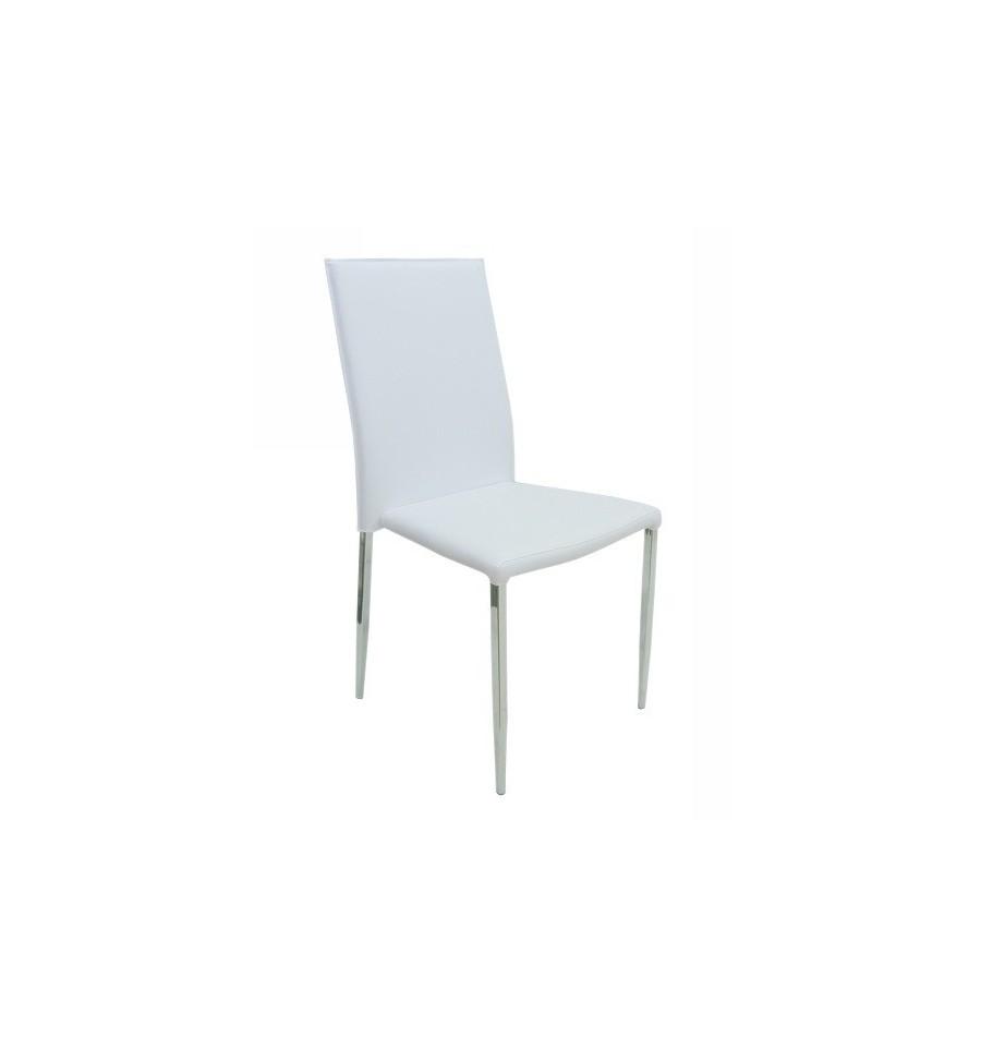 silla hotel cromada polipiel blanca sillas y mesas de madera On sillas blancas de madera tapizadas