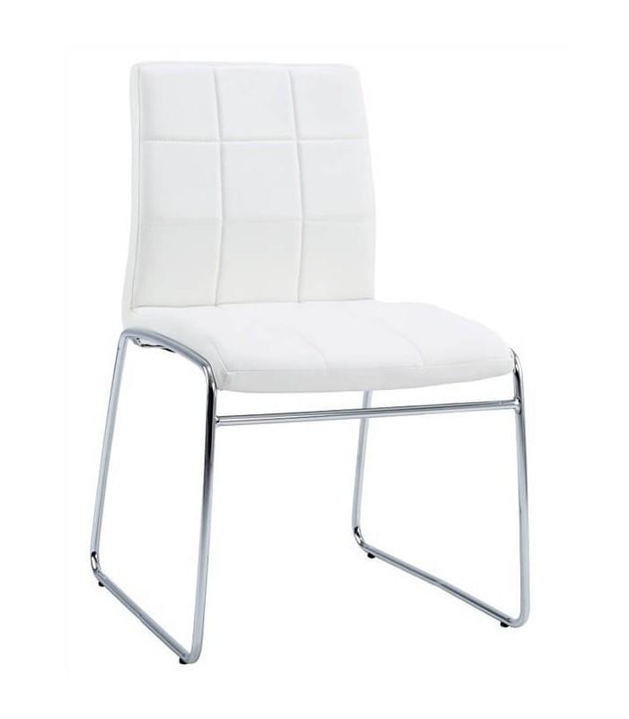 Silla berlin cromada blanca o negra sillas y mesas de madera for Sillas negras tapizadas