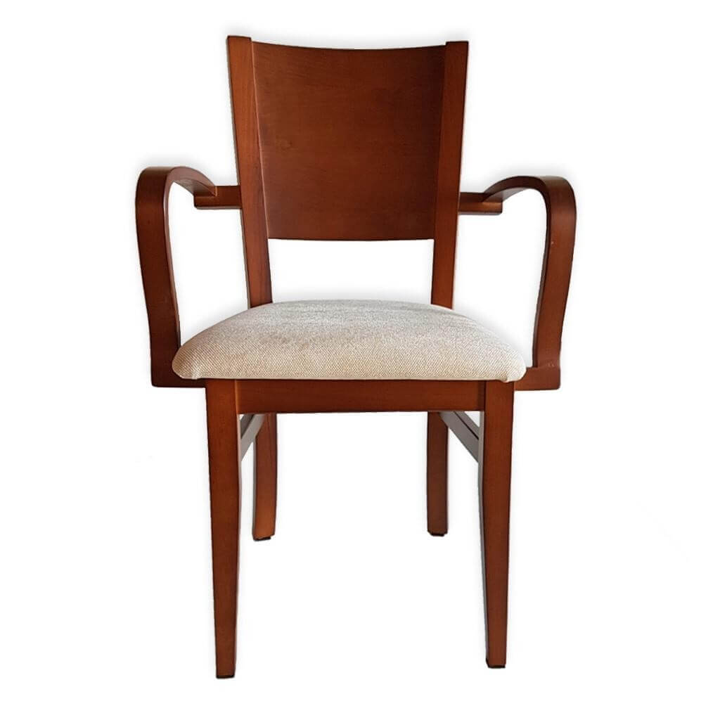 silla madera con brazos
