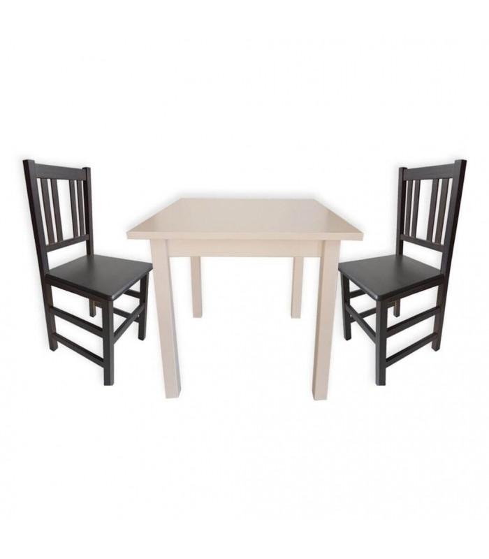 Pack 22: Mesa madera + 4 Silla Orense madera| Mobiliario de Hostelería