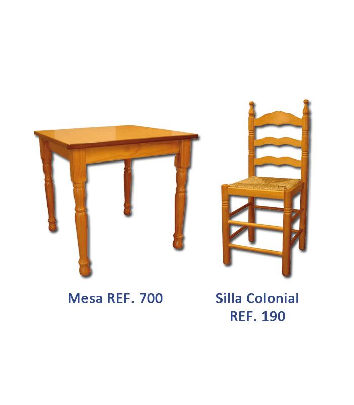Pack 1: Mesa hostelería + 4 Sillas  Colonial madera pino macizo