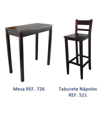 Mesa hostelería Vertice madera + 4 Taburetes hostelería|Mobiliario bares madera