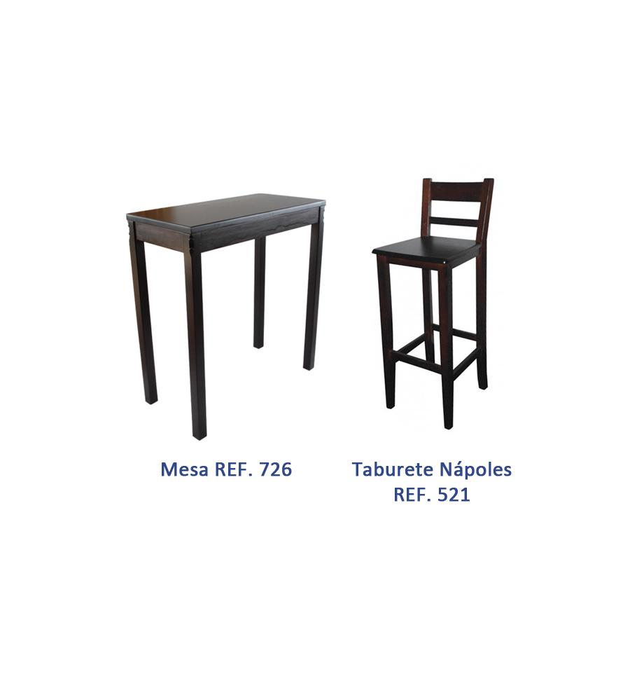 Oferta mobiliario hosteleria madera pack 5 sillas y for Oferta mesa y sillas