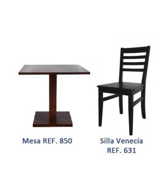 Pack 6: Mesa hostelería + 4 Sillas hostelería