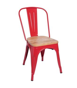 Silla Tolix asiento madera clarito multicolor-Sillas vintage