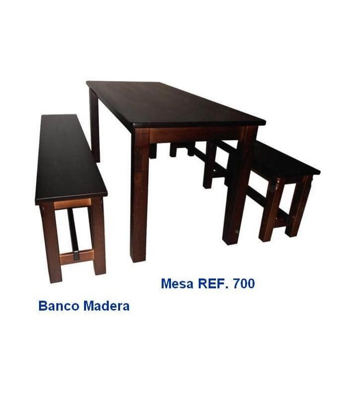 Pack 8: Mesa Hostelería + 2 Bancos Madera
