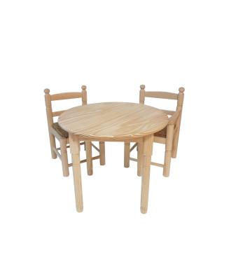 PacK Infantil Mesa +2 sillas madera anea