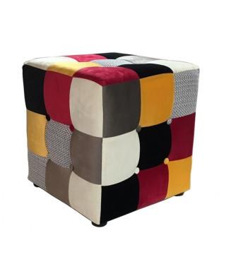 Puff Melany tejido patchwork|Puffs nordicos-interiorismo