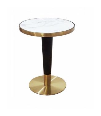 Mesa Paris Conica tablero marmol| Mesa marmol con canto oro para bares y restaurantes