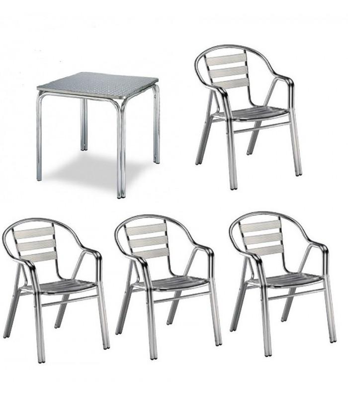 Pack 10: Mesa hostelería aluminio + 4 Sillas hostelería aluminio