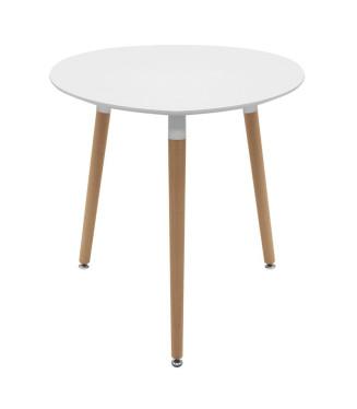 Mesa Nórdica Redonda Blanca 90 cm- Mesa madera cafeterias y hogares