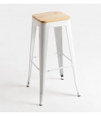 Taburete Tolix asiento madera |Taburete industrial y vintage- retro