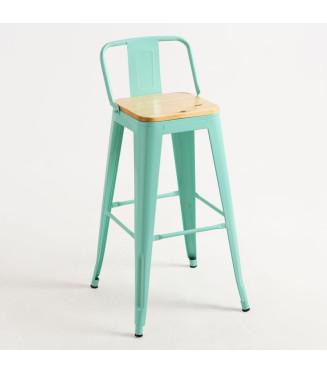 Taburete Tolix Respaldo asiento madera|Taburete Tolix de estilo industrial, fabricado en acero