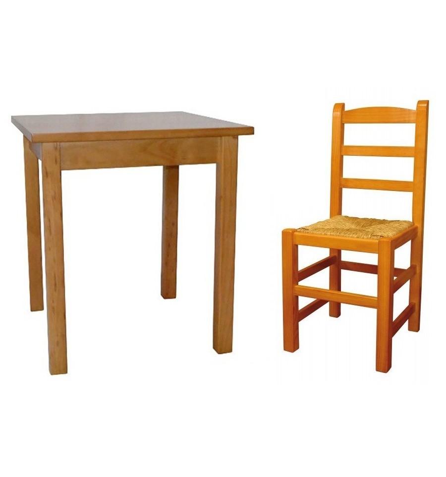 Mesa ref 700 4 silla castellana sillas y mesas de for Oferta sillas madera