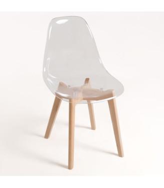 Silla transparente- Armazon madera haya y asiento y respaldo Policarbonato