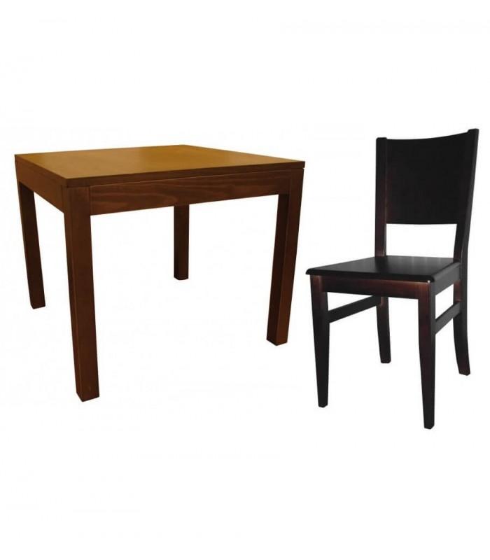 Mesa 710 y silla 621 napoles asiento madera
