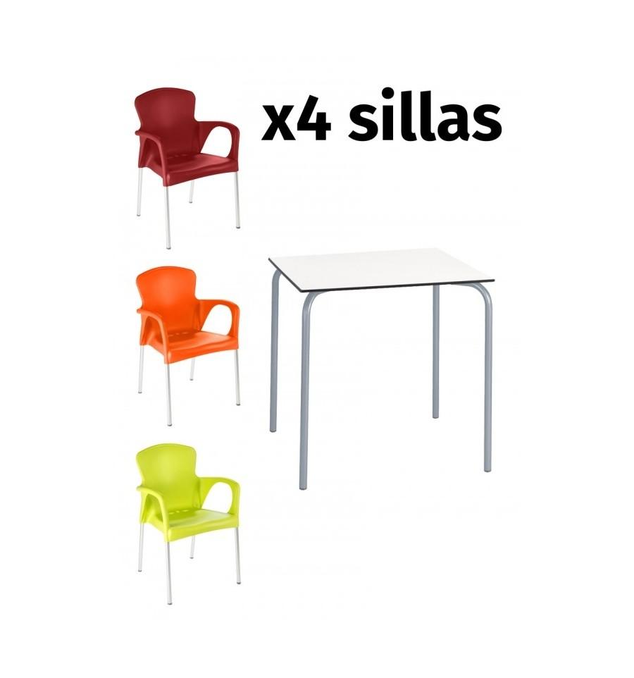 Pack 11 mesa compact 4 sillas terraza sillas y mesas for Oferta mobiliario terraza